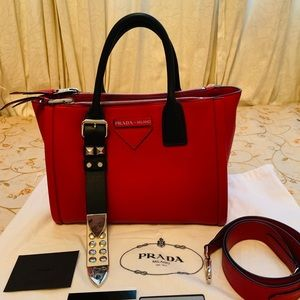 Prada Milano Grace Lux Studded Fuoco Bianco Bag